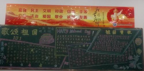 """经贸旅游系开展以""""歌颂我的祖国""""为主题的黑板报设计"""